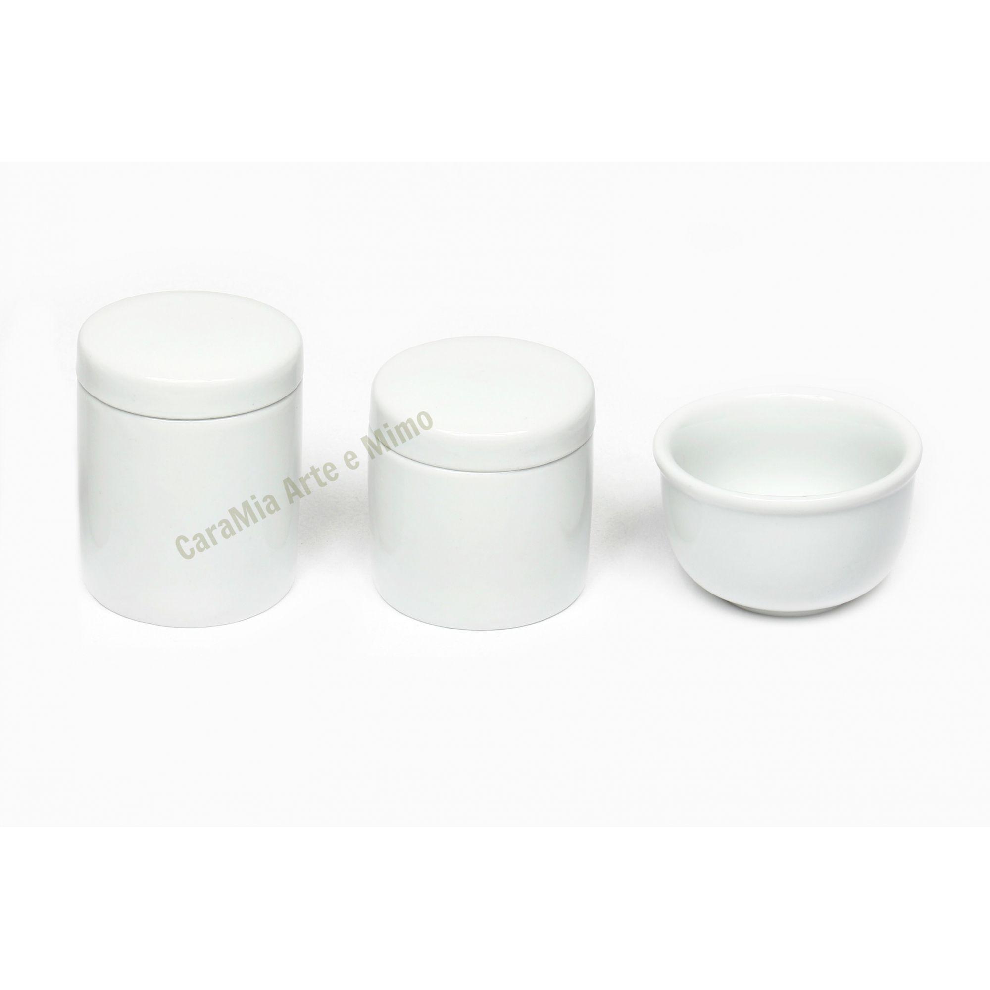 Kit Higiene Bebê Porcelana Branca Lisa | 3 peças