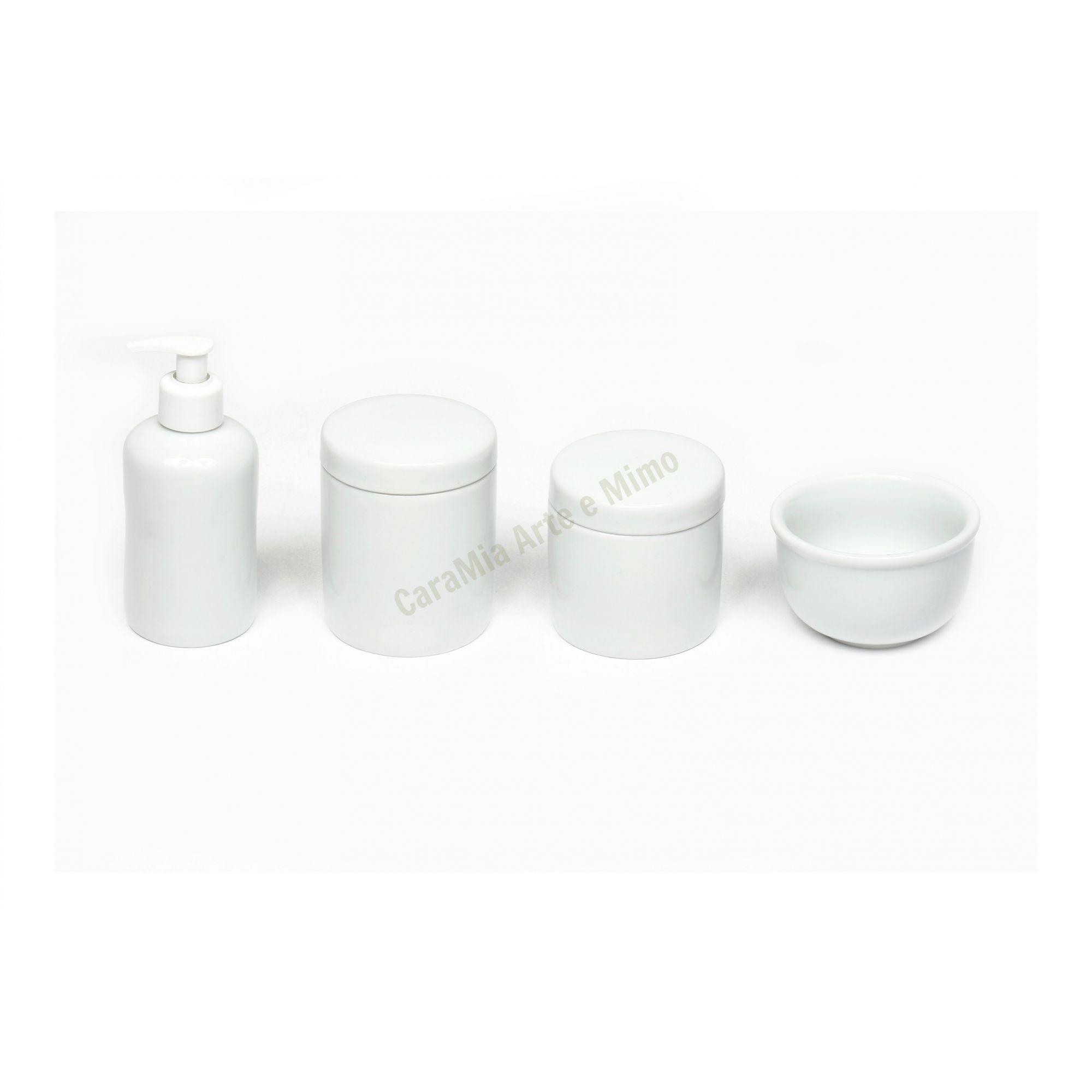 Kit Higiene Bebê Porcelana Branca Lisa | 4 peças