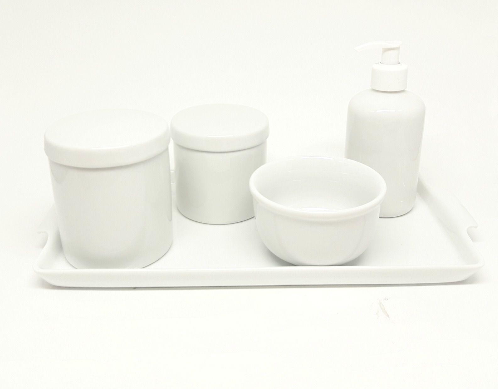 Kit Higiene Bebê Porcelana Branca lisa com Bandeja em porcelana grande (34 por 17 cm)