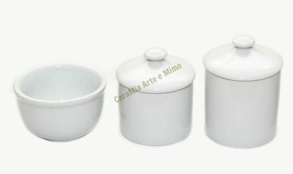 Kit Higiene Bebê Porcelana Branca Lisa com Puxador | 3 peças