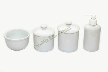 Kit Higiene Bebê Porcelana Branca Lisa com Puxador| 4 peças