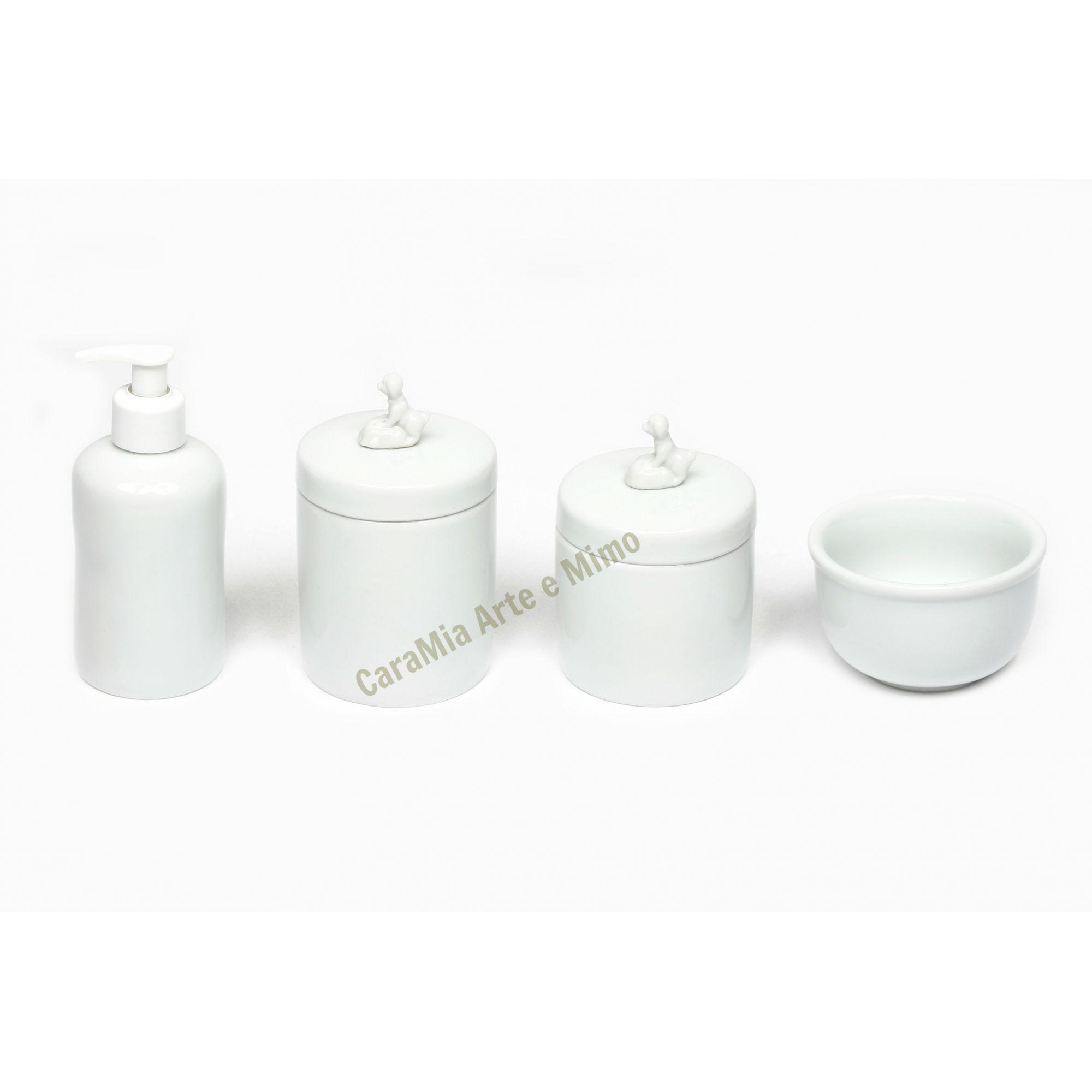 Kit Higiene Bebê Porcelana Branca | Meu Cachorrinho|4 peças