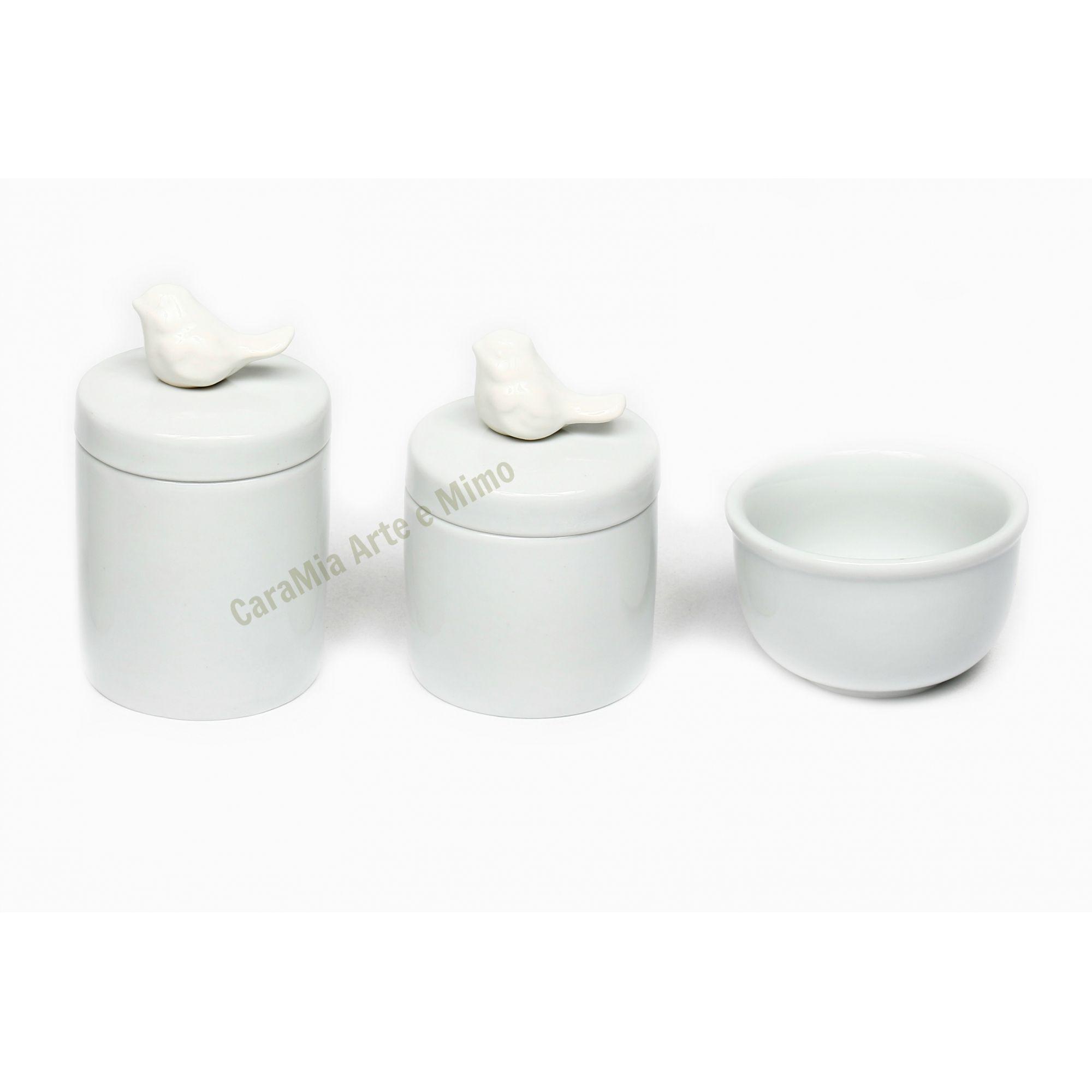 Kit Higiene Bebê Porcelana Branca Pássaros Brancos| 3 peças