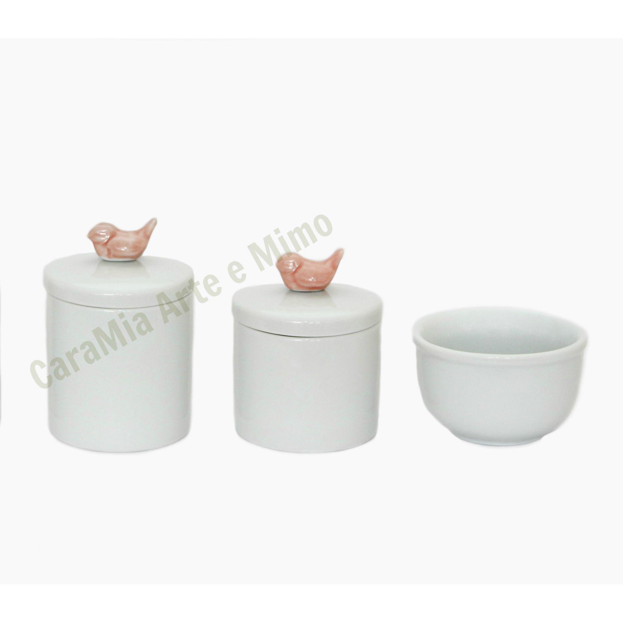 Kit Higiene Bebê Porcelana Branca Pássaros em Rosa Antigo| 3 peças