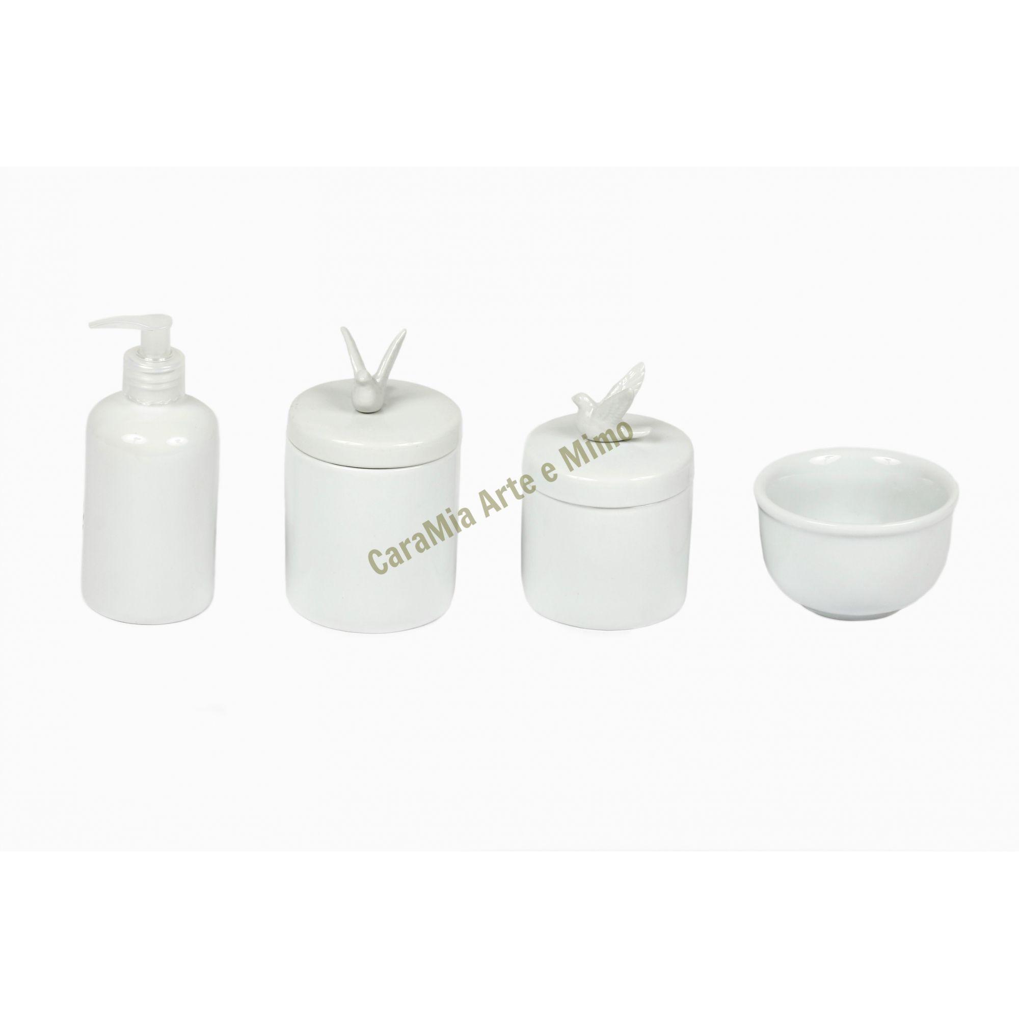Kit Higiene Bebê Porcelana Branca | Pombas & Pombinhas | 4 peças