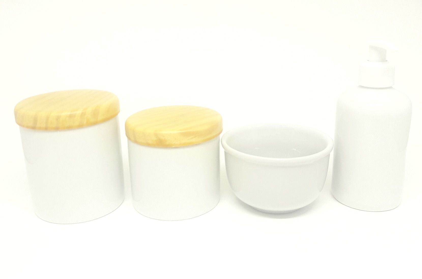 Kit Higiene Bebê Porcelana Branca | Tampas Madeira Pinus Rústica|4 peças