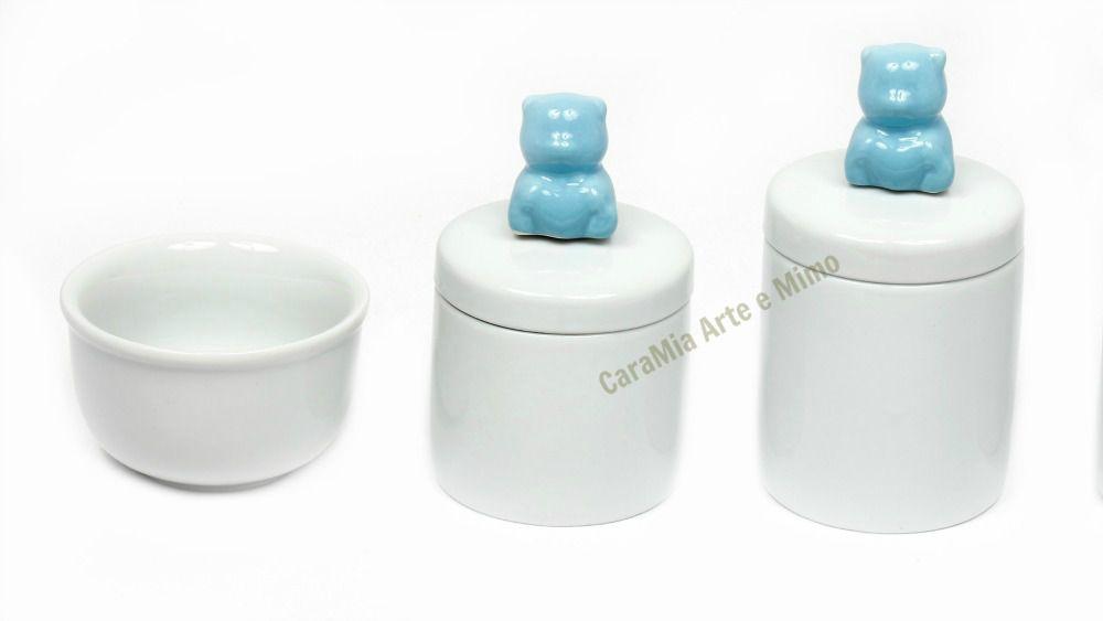Kit Higiene Bebê Porcelana Branca | Urso & Ursinho Azul| 3 peças