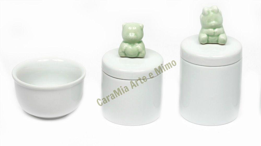 Kit Higiene Bebê Porcelana Branca | Urso & Ursinho Verde | 3 peças