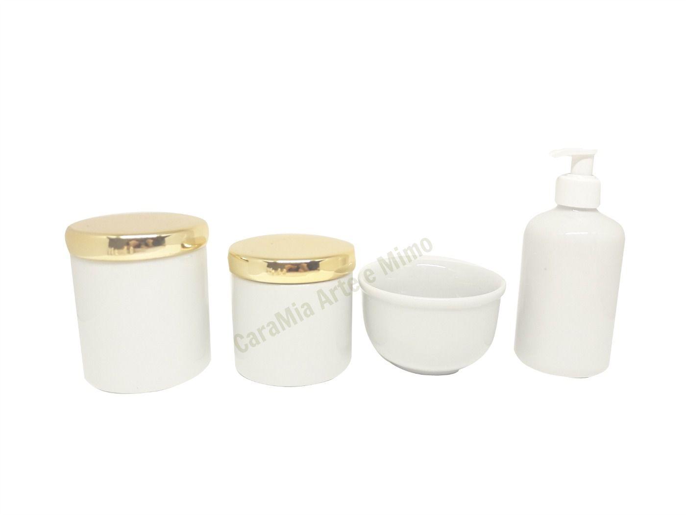 Kit Higiene Bebê Porcelana Branco com Tampas Metalizadas Douradas|4 peças