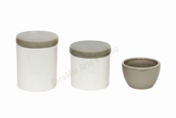 Kit Higiene Bebê Porcelana| Branco e Cinza| 3 peças