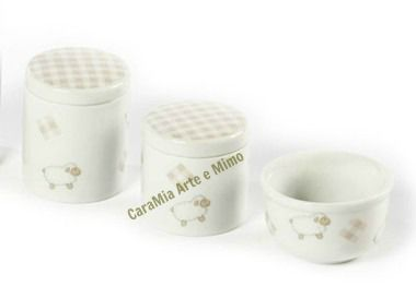 Kit Higiene Bebê Porcelana | Carneirinho Bege | 3 Peças |