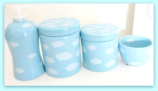 Kit Higiene Bebê Porcelana Cerâmica Azul com Nuvem Branca  4 peças