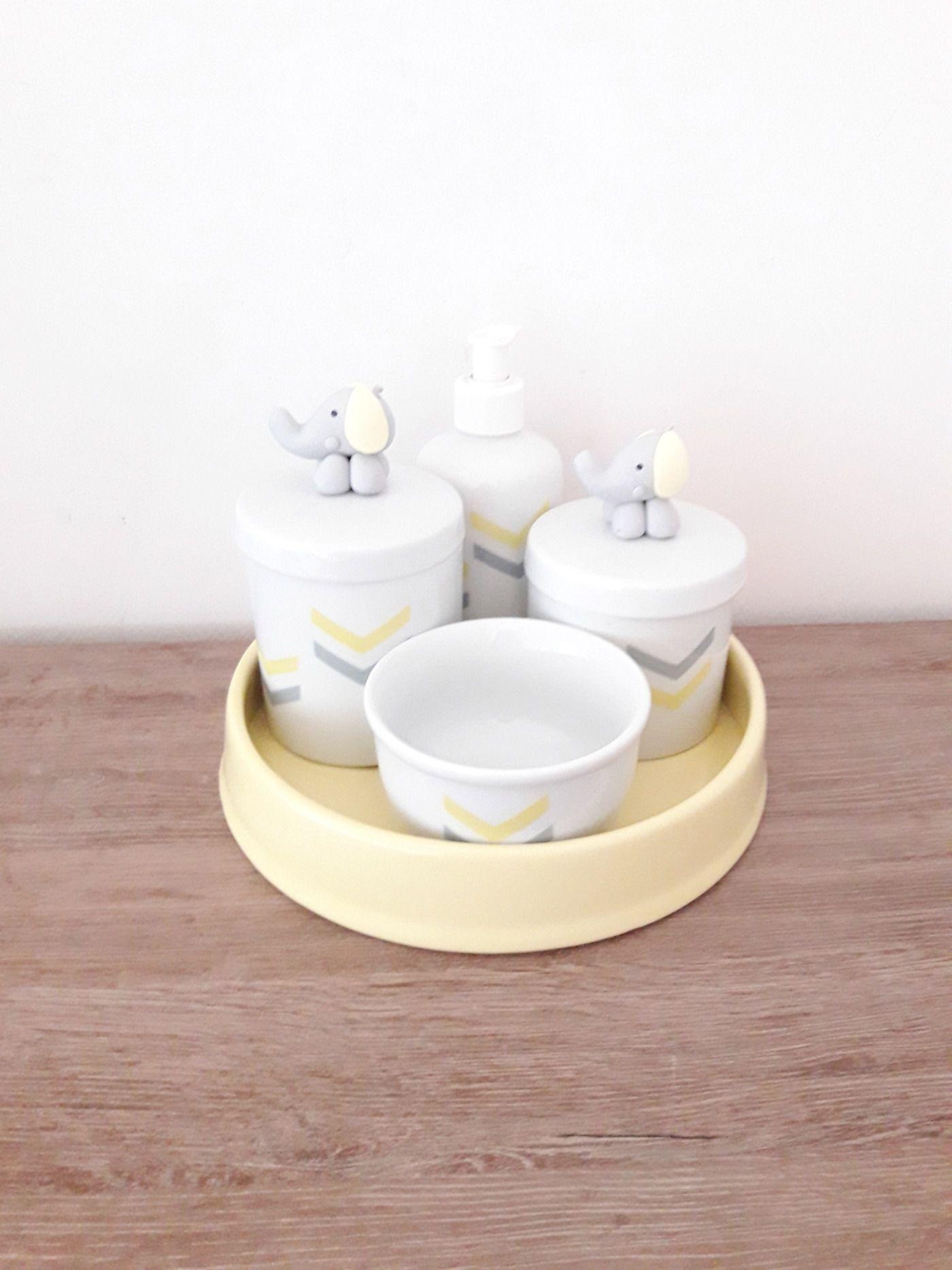 Kit Higiene Bebê Porcelana | Chevron Amarelo e Cinza| Elefante em Biscuit| 4 peças
