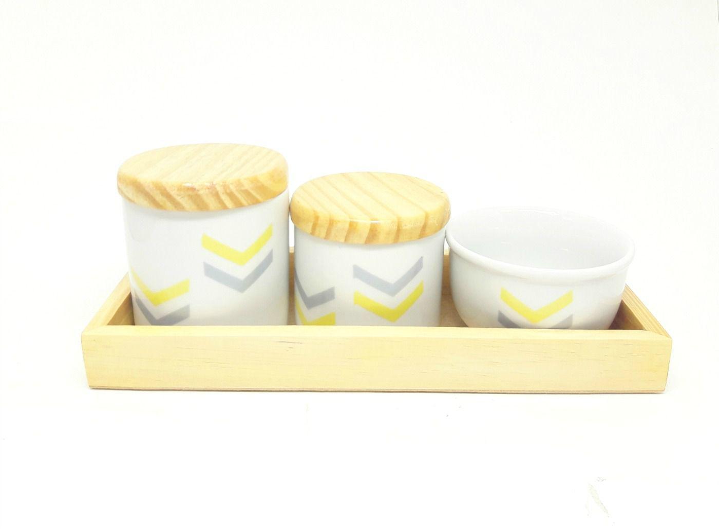 Kit Higiene Bebê Porcelana | Chevron | Amarelo e Cinza | Tampas Madeira Pinus com Bandeja Madeira