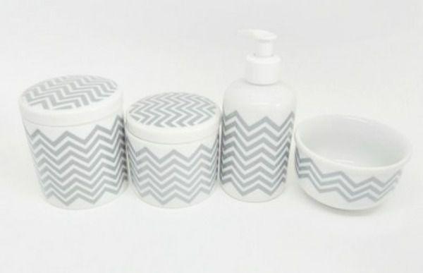 Kit Higiene Bebê Porcelana| Chevron Cinza | 4 Peças
