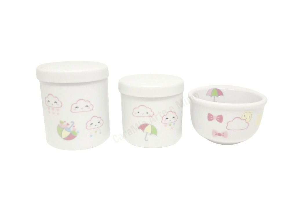 Kit Higiene Bebê Porcelana |Chuva de Amor | Nuvem | Olhinhos |Corações