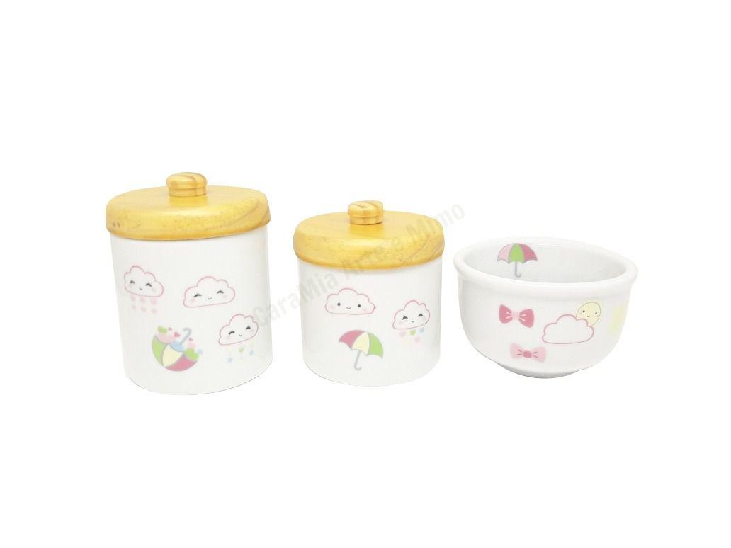 Kit Higiene Bebê Porcelana |Chuva de Amor | Nuvem | Olhinhos |Corações| Pinus