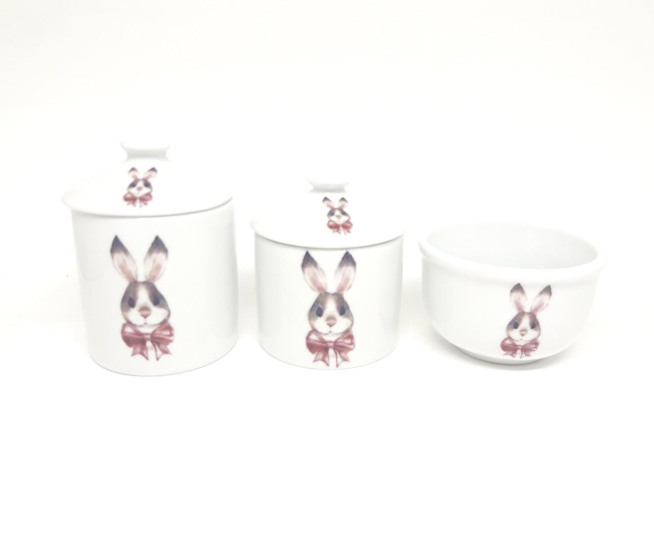Kit higiene bebê porcelana coelho com lacinho rosa
