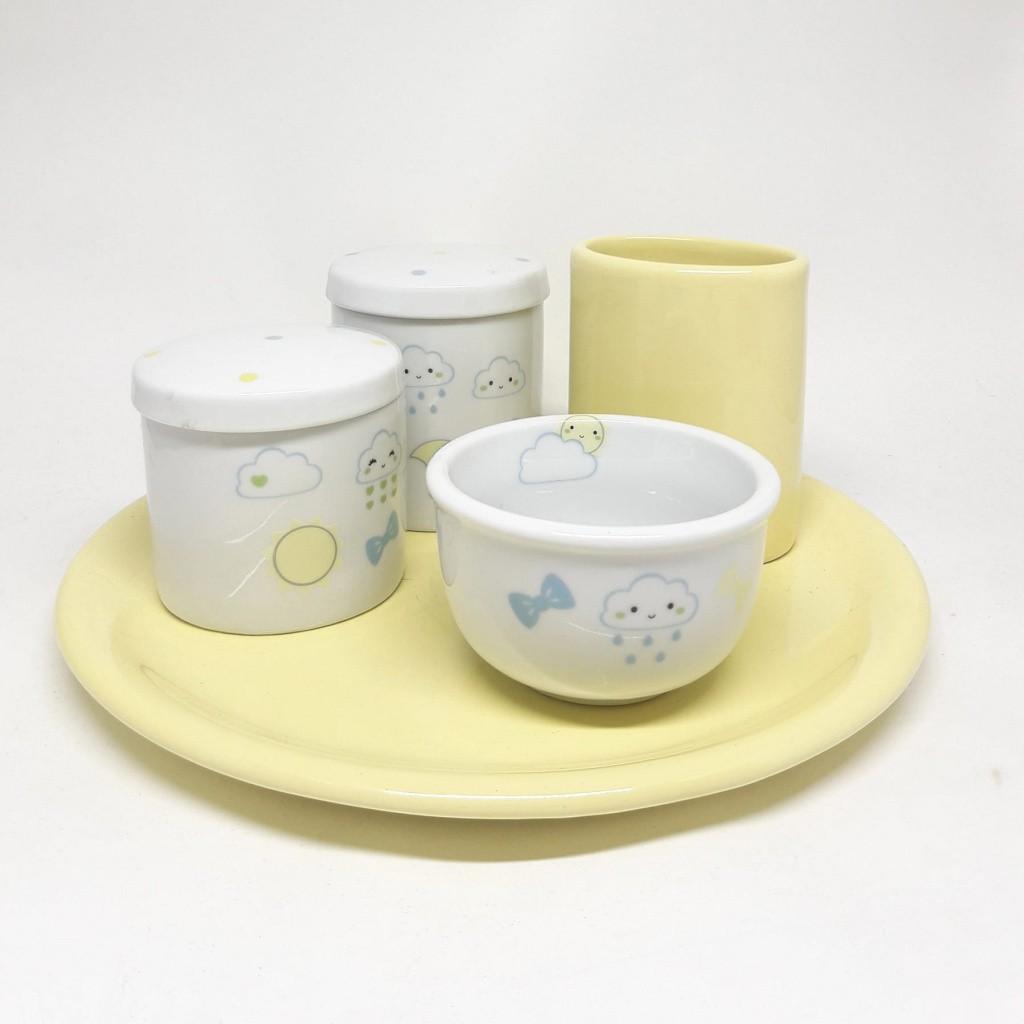 Kit Higiene Bebê Porcelana com Bandeja e Porta pentes Chuva de Amor