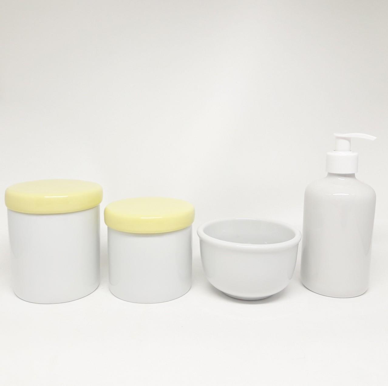 Kit Higiene Bebê Porcelana com Tampas Amarelas