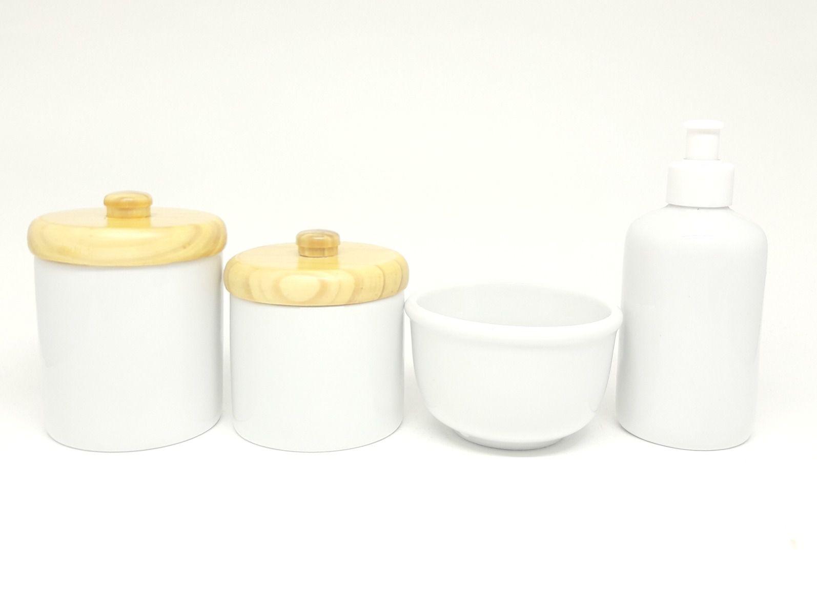 Kit Higiene Bebê Porcelana com Tampas Pinus e Puxador