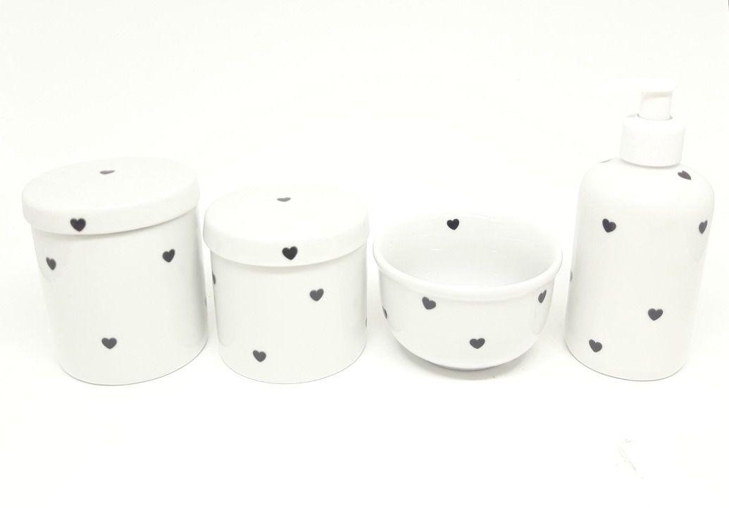Kit Higiene Bebê Porcelana | Coração & Coracões | 4 peças
