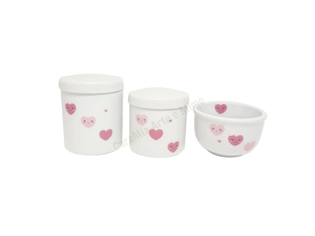 Kit Higiene Bebê Porcelana Coração & Corações Rosas com Olhinhos
