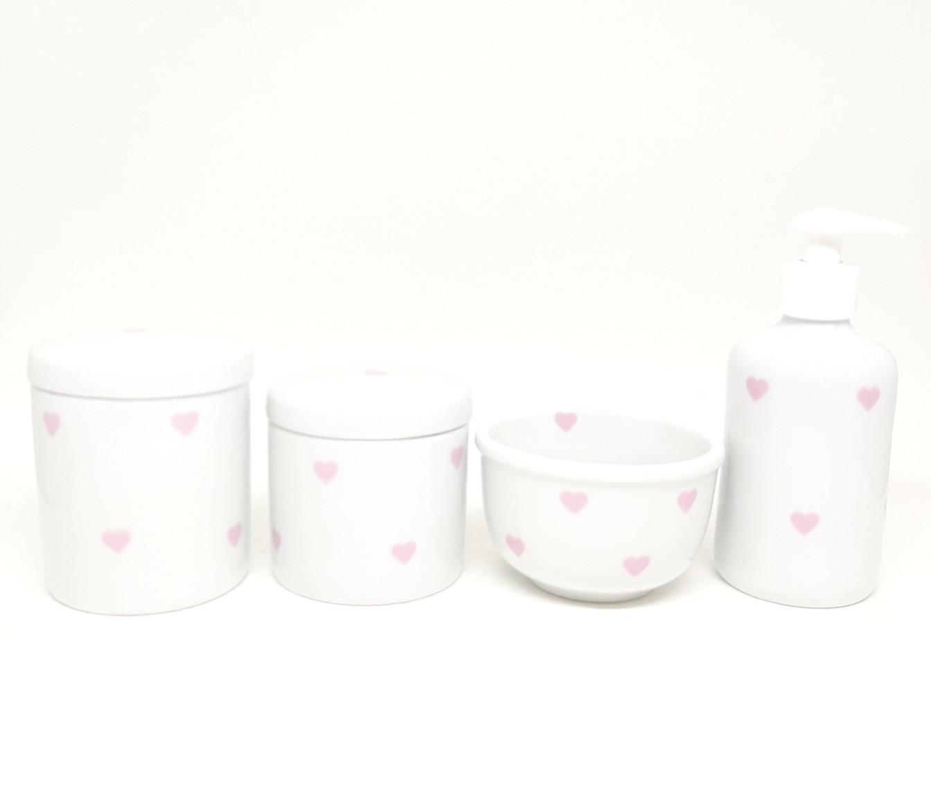 Kit Higiene Bebê Porcelana Coração Rosa Claro