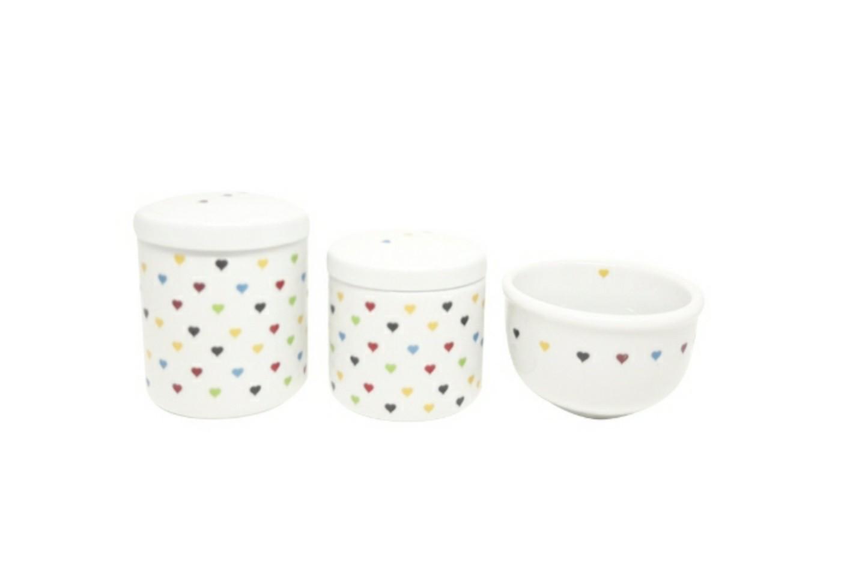 Kit higiene bebê porcelana Corações Coloridos 3 peças