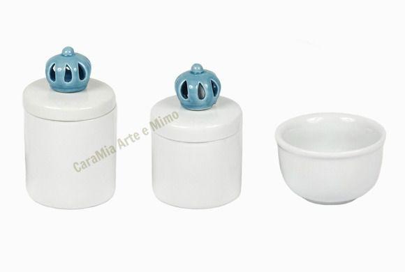 Kit Higiene Bebê Porcelana Coroa Azul