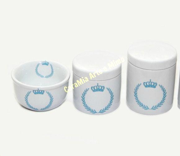 Kit Higiene Bebê Porcelana | Coroa Azul Brasão  | 3 peças