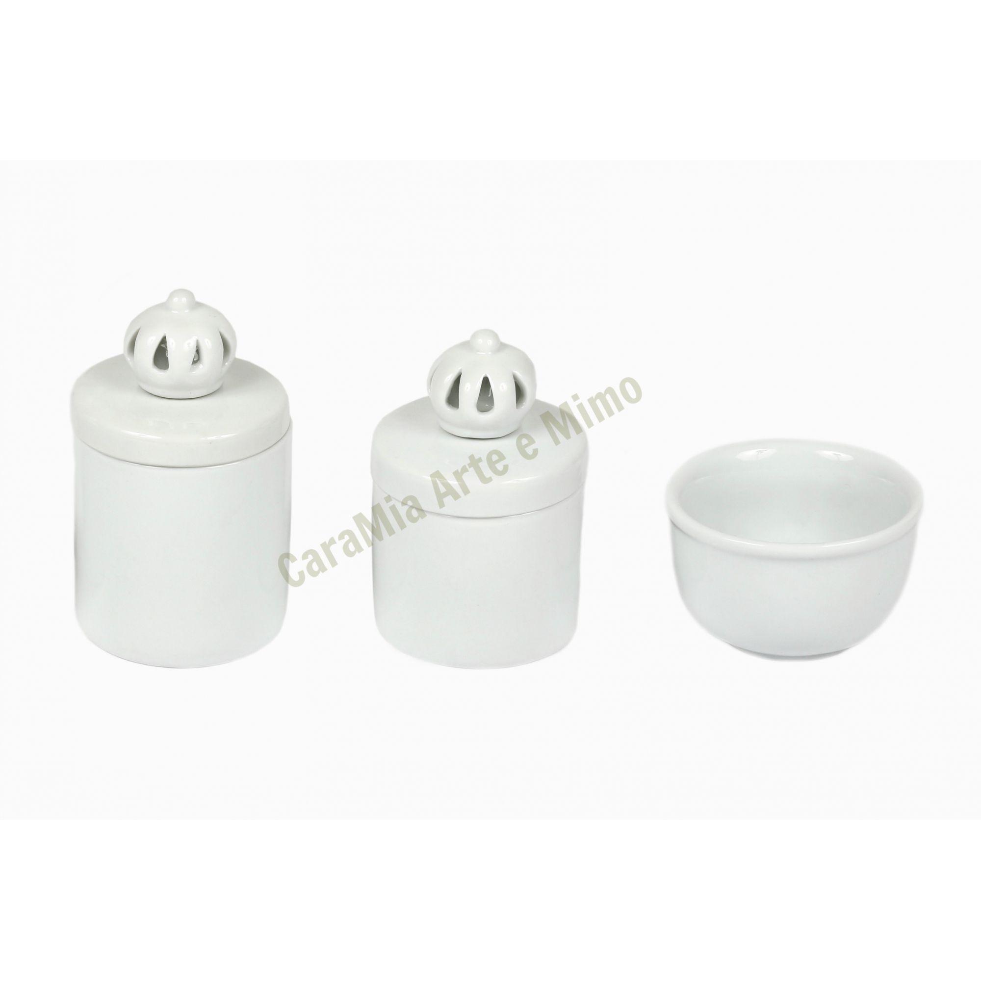 Kit Higiene Bebê Porcelana | Coroa Branca | 3 Peças |