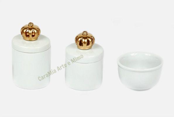 Kit Higiene Bebê Porcelana Coroa Dourada | 3 peças