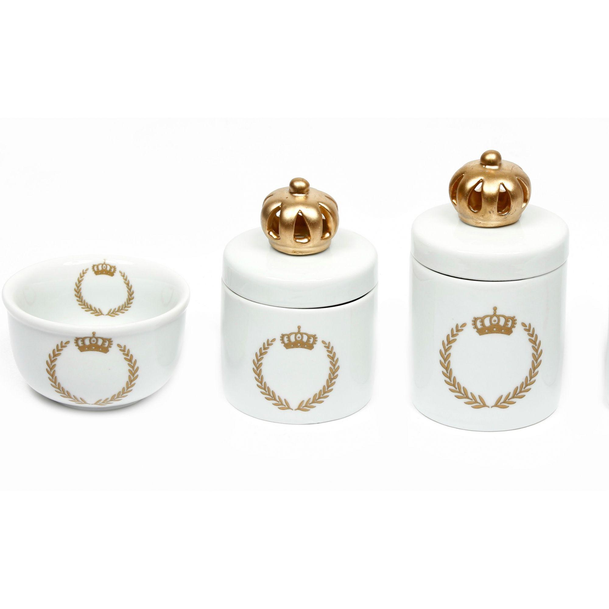 Kit Higiene Bebê Porcelana |Coroa Dourada Brasão com Aplique de Coroa Dourada |