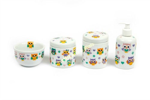 Kit Higiene Bebê Porcelana Corujinhas | 4 peças