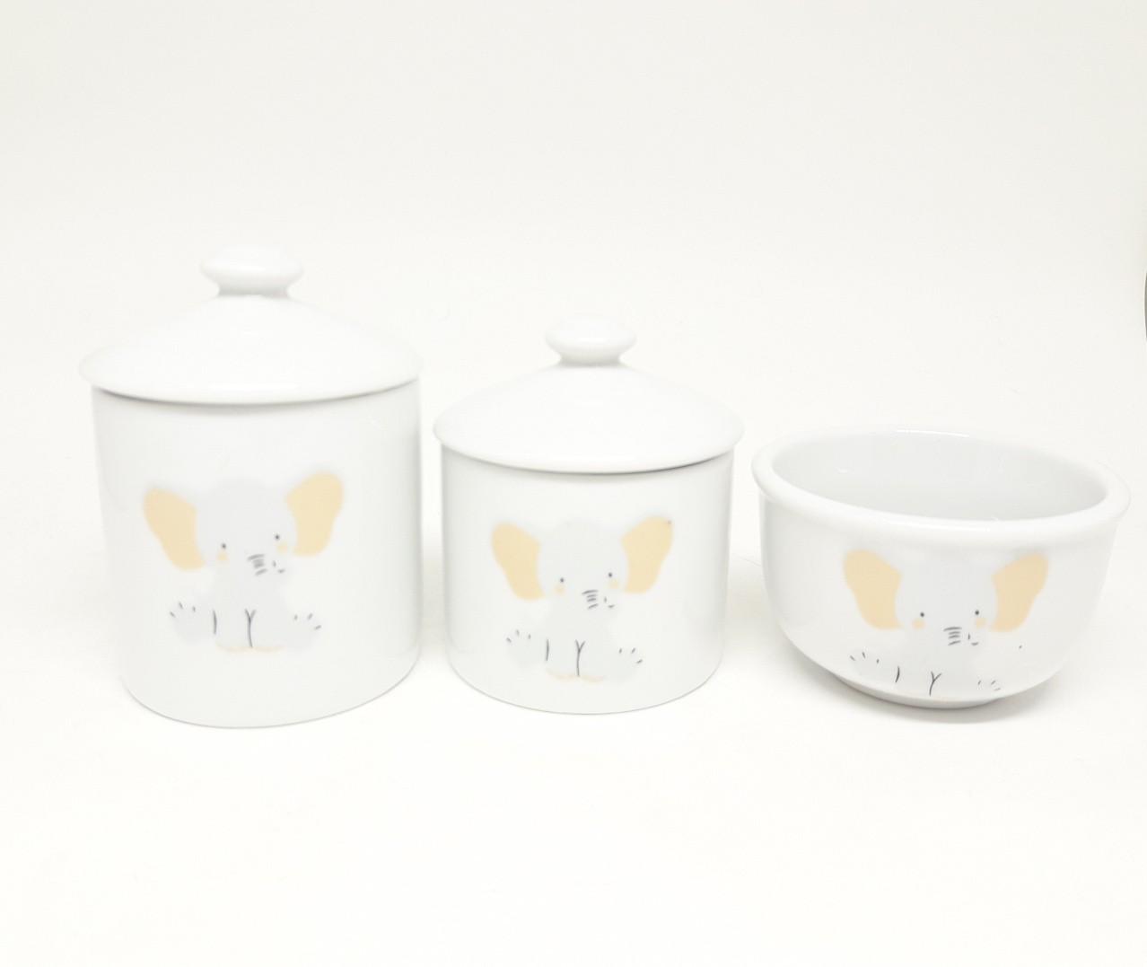 Kit higiene bebê porcelana Elefante Bichinhos