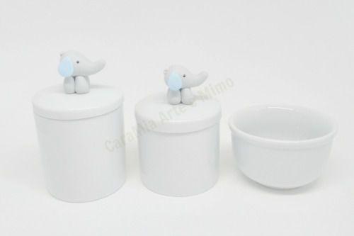 Kit Higiene Bebê Porcelana| Elefante Orelha Azul em Biscuit | 3 Peças