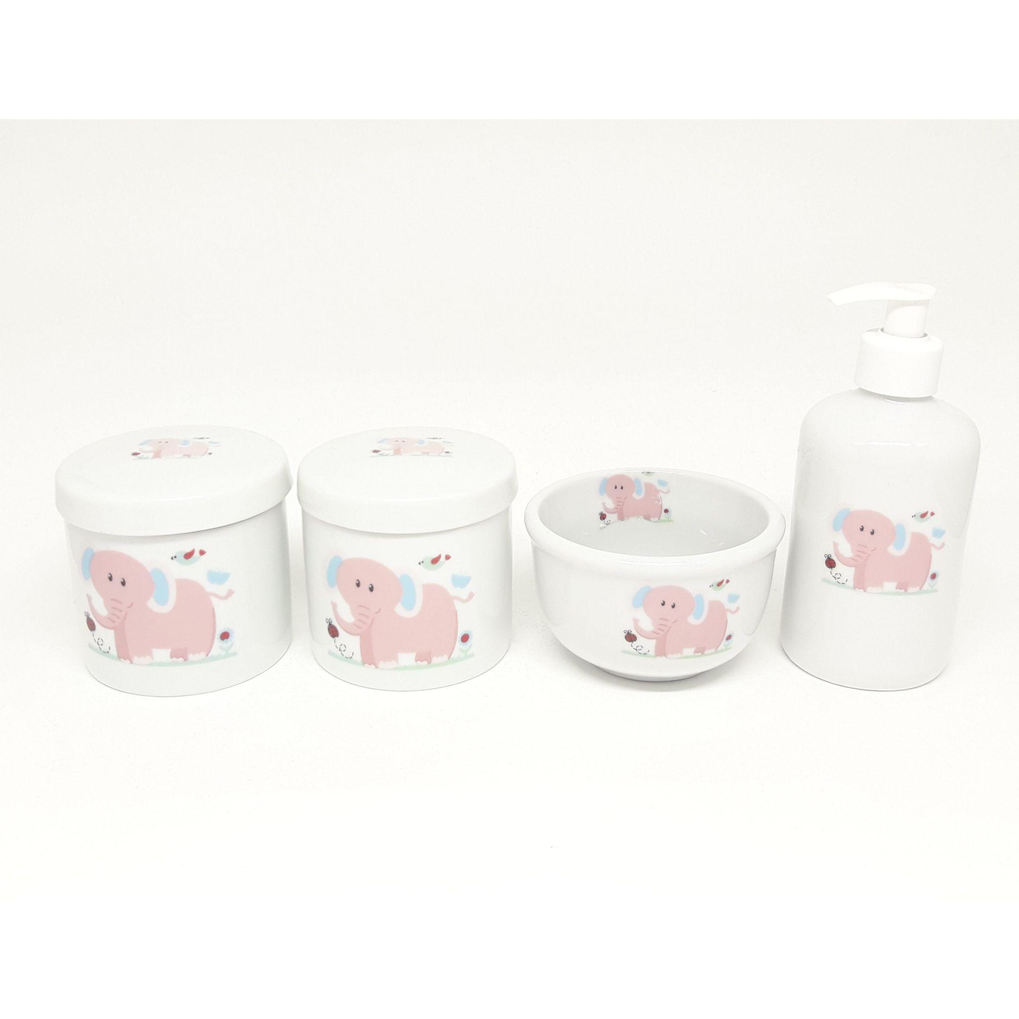 """Kit higiene bebê porcelana """"Elefante rosa"""" 4 peças"""