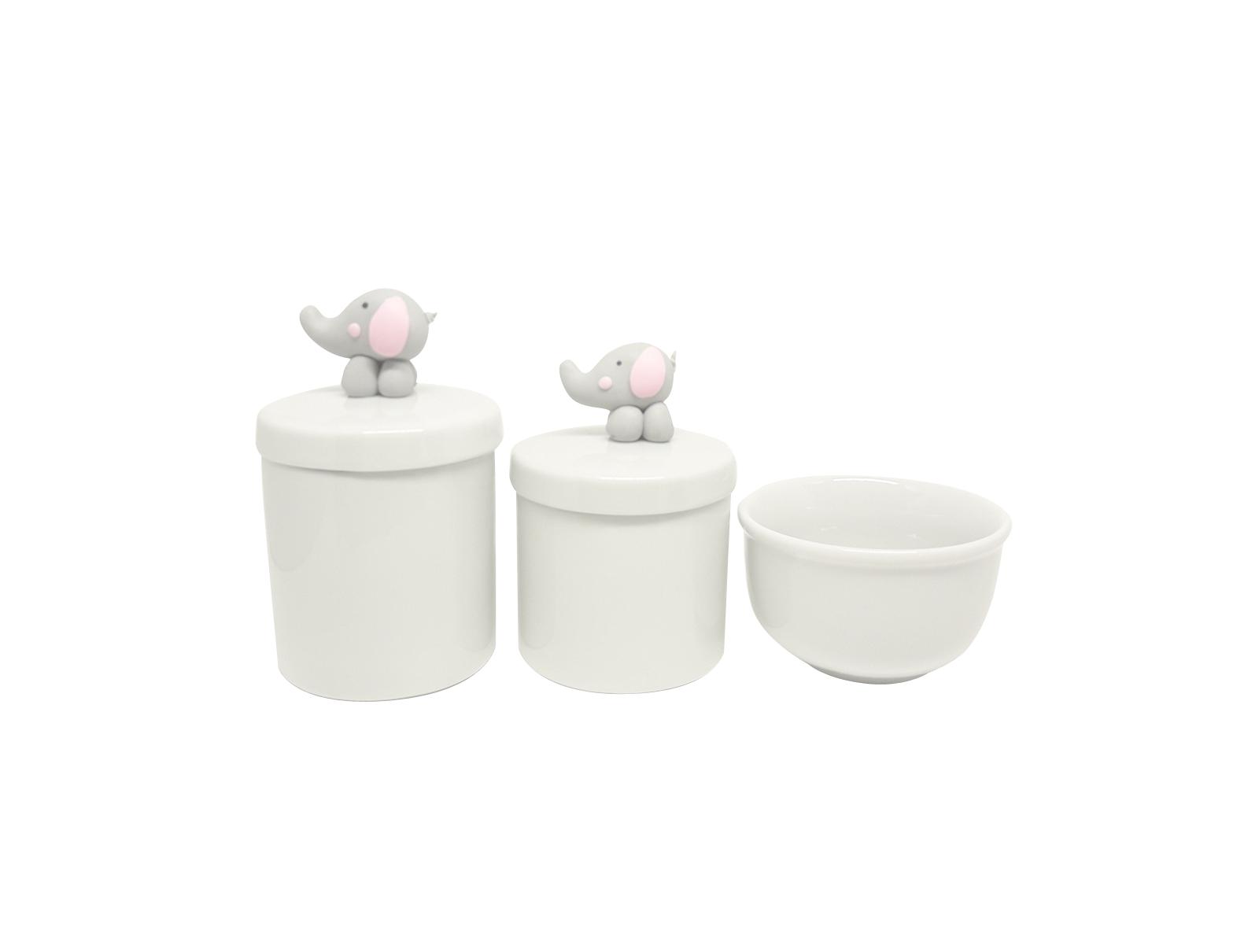 Kit Higiene Bebê Porcelana|Elefante Biscuit Rosa | 3 Peças