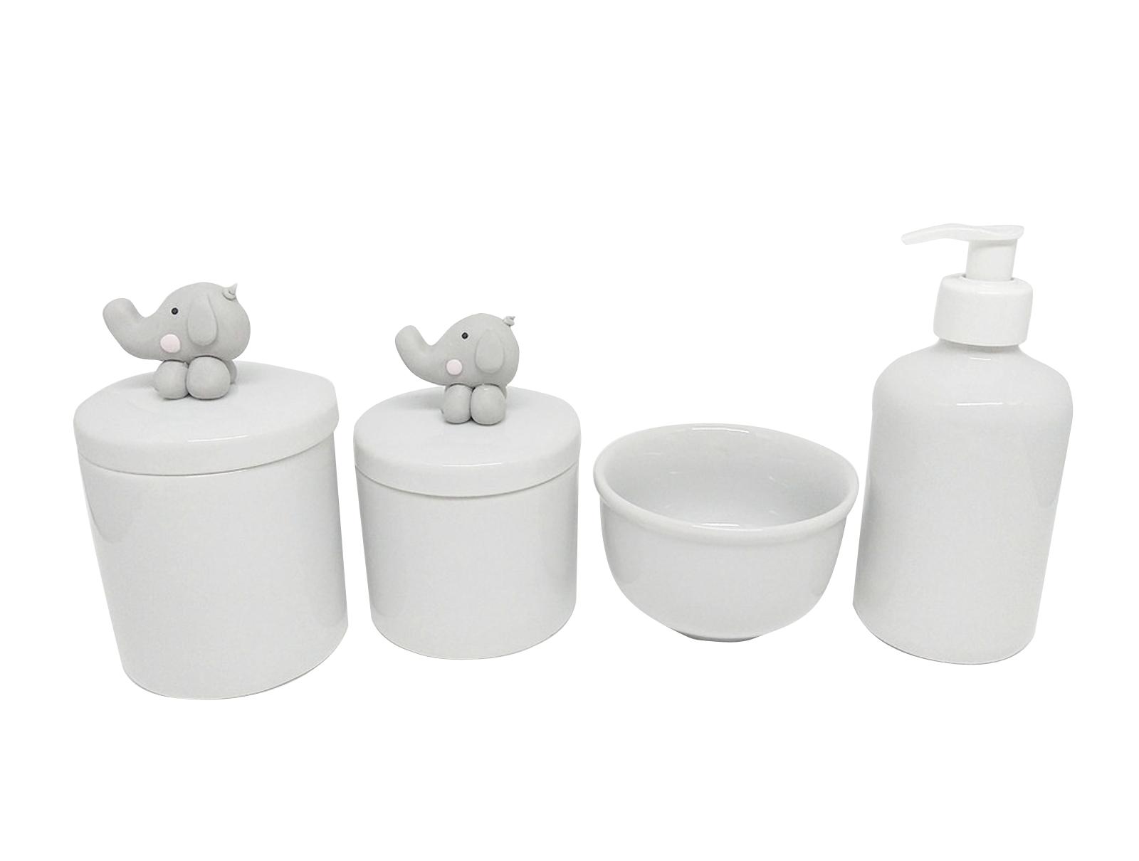Kit Higiene Bebê Porcelana  Elefante Cinza em Biscuit  4 Peças