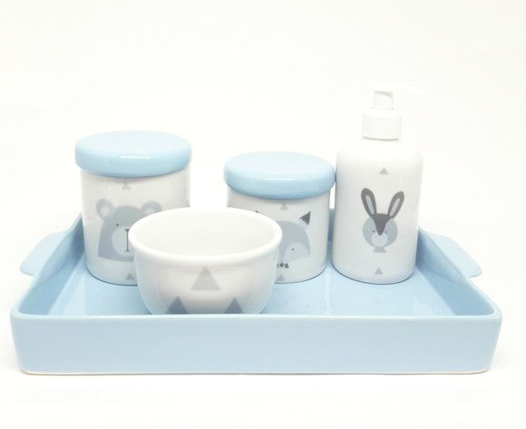 Kit Higiene Bebê Porcelana Escandinavo Azul Bebê|Urso e Raposa | Bandeja Cerâmica Retangular  20 por 30 cm|