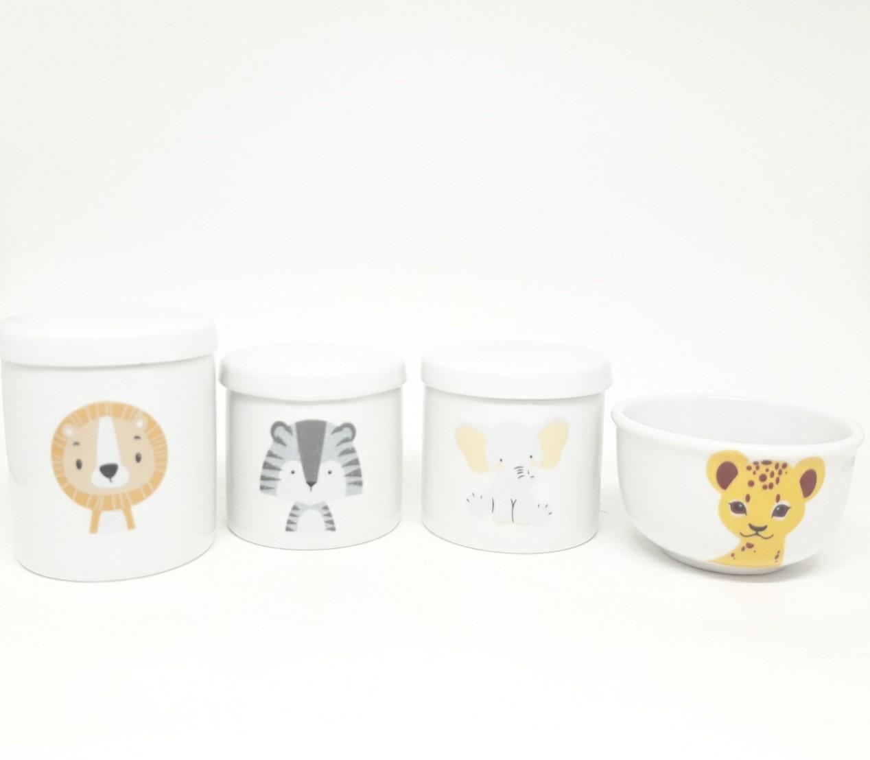 Kit Higiene Bebê Porcelana Escandinavo Bichinhos Safari