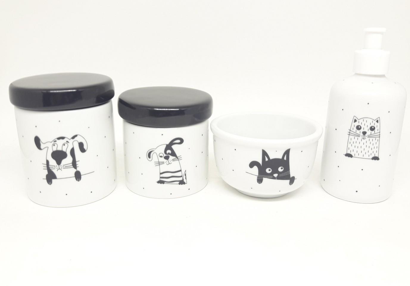 Kit Higiene Bebê Porcelana Escandinavo Bichinhos | Tampas Pretas