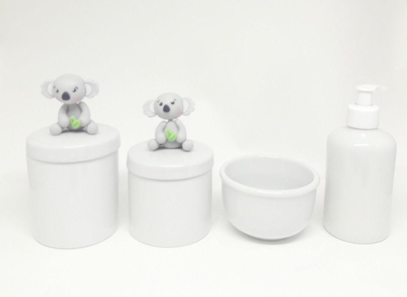 Kit Higiene Bebê Porcelana Escandinavo | Coala Biscuit| 4 peças