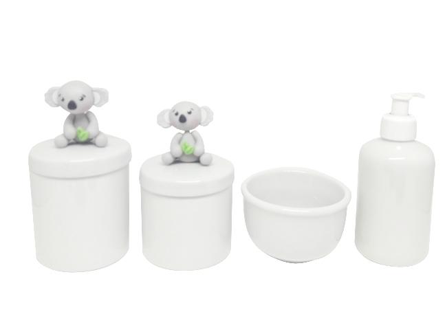 Kit Higiene Bebê Porcelana Escandinavo   Coala Biscuit  4 peças
