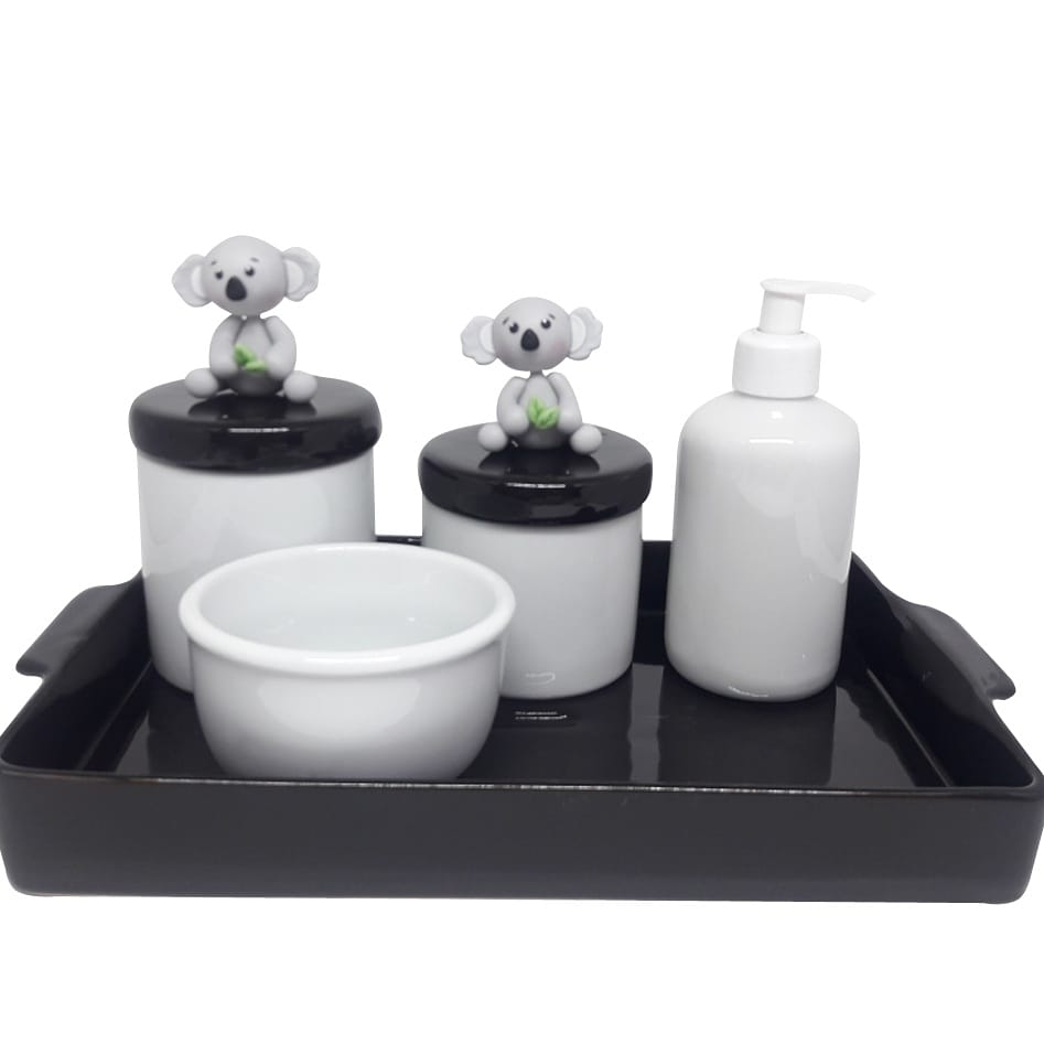 Kit Higiene Bebê Porcelana Escandinavo Coala com Bandeja / Escolha Cores