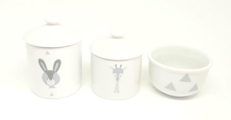 Kit Higiene Bebê Porcelana Escandinavo |Coelho e Girafa | Geométrico