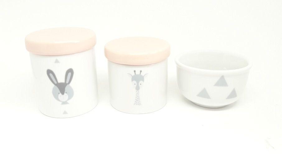 Kit Higiene Bebê Porcelana Escandinavo |Coelho e Girafa| Geométrico | Tampa Rosa Antigo