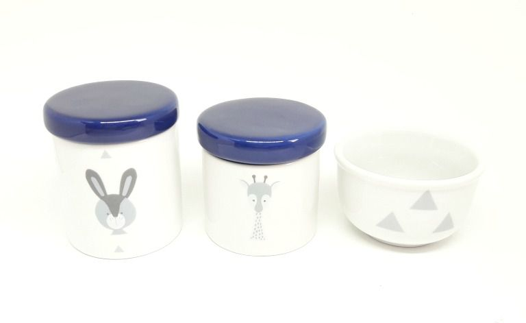 Kit Higiene Bebê Porcelana Escandinavo |Coelho e Girafa | Geométrico| Tampa Azul Marinho