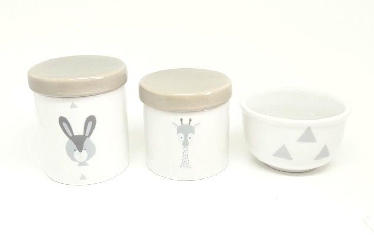 Kit Higiene Bebê Porcelana Escandinavo |Coelho e Girafa | Geométrico | Tampa Cinza